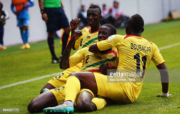 Abdoul Dante of Mali celebrates his team's second goal with team mates during the FIFA U17 World Cup Chile 2015 Group D match between Mali and...