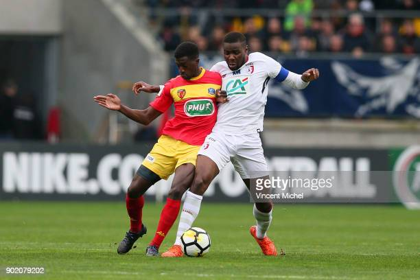 Abdoul Kader Bamba of Le Mans and Ibrahim Amadou of Lille during the french National Cup match between Le Mans and Lille on January 6 2018 in Le Mans...