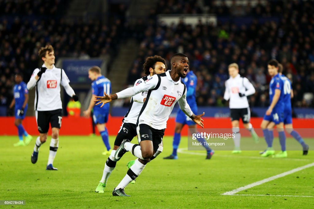 Abdoul Razzagui Camara of Derby County celebrates after his free-kick was deflected in for his side's first goal during the Emirates FA Cup Fourth Round replay match between Leicester City and Derby City at The King Power Stadium on February 8, 2017 in Leicester, England.