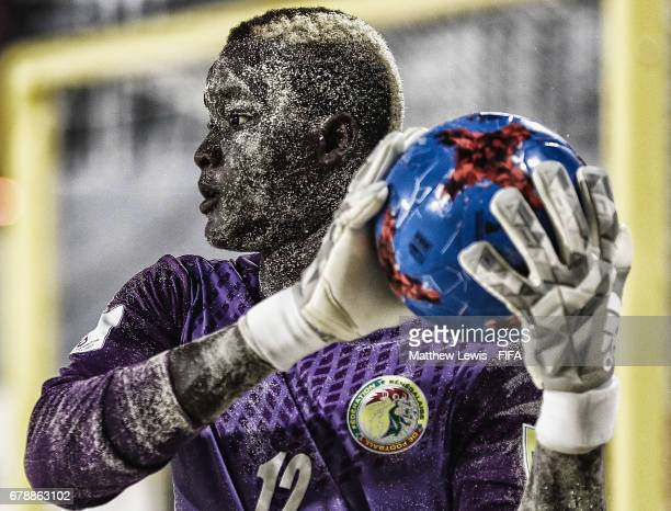Abdoul Samba of Senegal catches a football during the FIFA Beach Soccer World Cup Bahamas 2017 quarter final match between Italy and Senegal at the...