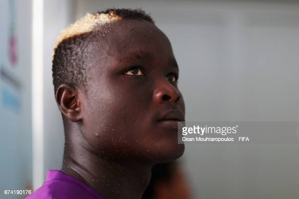 Abdoul Samba of Senegal looks on prior to the FIFA Beach Soccer World Cup Bahamas 2017 group A match between Ecuador and Senegal at National Beach...