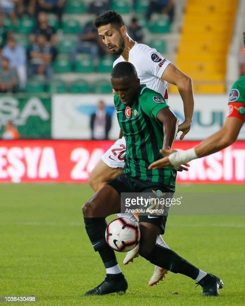 Abdoul Sissoko of Akhisarspor in action against Emre Akbaba of Galatasaray during Turkish Super Lig soccer match between Akhisarspor and Galatasaray...