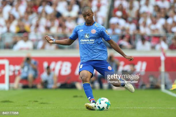 AbdouLakhad Diallo of Mainz runs with the ball during the Bundesliga match between VfB Stuttgart and 1 FSV Mainz 05 at MercedesBenz Arena on August...
