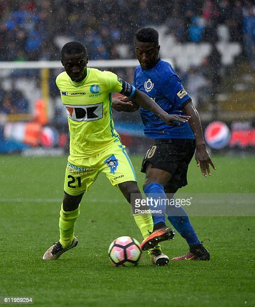 Abdoulay Diaby forward of Club Brugge and Nana Asare defender of KAA Gent pictured during Jupiler Pro League match between Club Brugge KV and KAA...