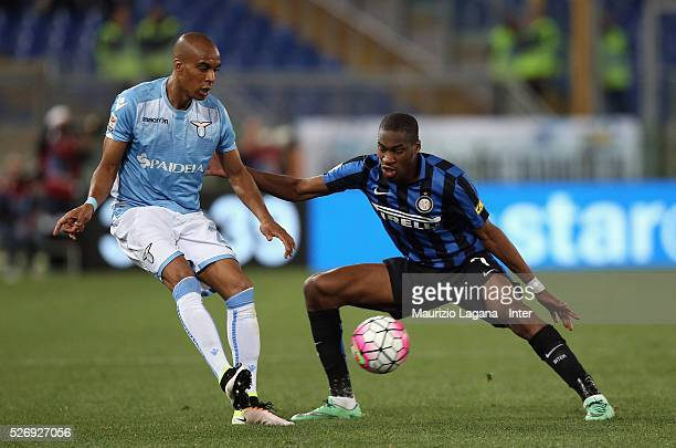 Abdoulay Konko of Lazio competes for the ball with Geoffrey Kondgbia of Inter during the Serie A match between SS Lazio and FC Internazionale Milano...