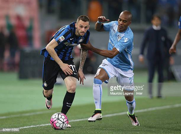Abdoulay Konko of Lazio competes for the ball with Marcelo Brozovic of Inter during the Serie A match between SS Lazio and FC Internazionale Milano...
