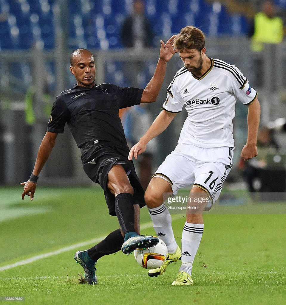 Abdoulay Konko of SS Lazio and Jorgen Skjelvik of Rosenborg BK in action during the UEFA Europa League group G match between SS Lazio and Rosenborg BK at Stadio Olimpico on October 22, 2015 in Rome, Italy.