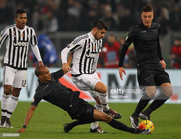 Abdoulay Konko of SS Lazio competes for the ball with Alvaro Morata of Juventus FC during the TIM Cup match between SS Lazio and Juventus FC at...