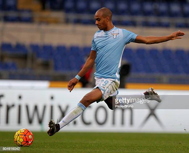 Abdoulay Konko of SS Lazio in action during the Serie A match between SS Lazio and Carpi FC at Stadio Olimpico on January 6 2016 in Rome Italy