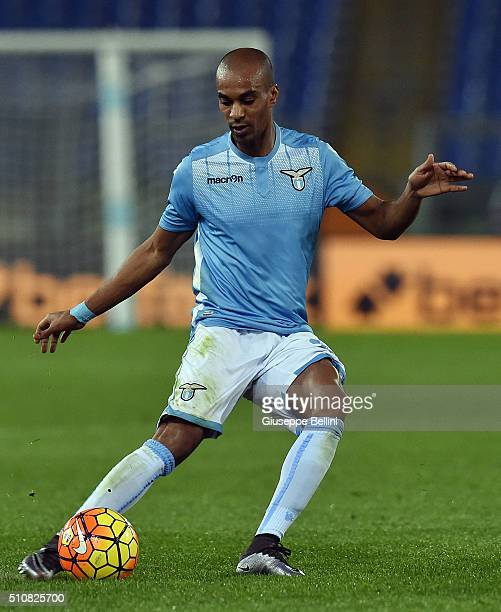 Abdoulay Konko of SS Lazio in action during the Serie A match between SS Lazio and Hellas Verona FC at Stadio Olimpico on February 11 2016 in Rome...