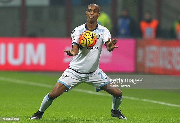 Abdoulay Konko of SS Lazio of FC Internazionale Milano controls the ball during the Serie A match between FC Internazionale Milano and SS Lazio at...