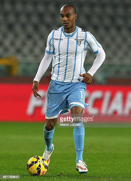 Abdoulay Konko of SS Lazioin action during the TIM Cup match between Torino FC and SS Lazio at Stadio Olimpico di Torino on January 14 2015 in Turin...