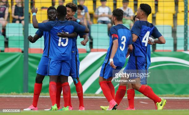 Abdoulaye Dabo of France jubilates with team mates after scoring the sixt goal during the U16 international friendly match between Germany and France...