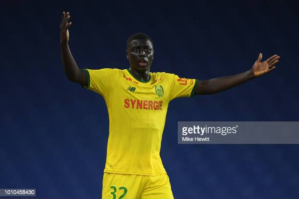 Abdoulaye Dabo of Nantes reacts during a PreSeason Friendly between Brighton and Hove Albion and FC Nantes at Amex Stadium on August 3 2018 in...
