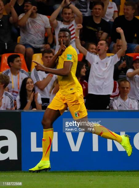 Abdoulaye Diaby of Mali celebrates after scoring his team's first goal during the 2019 FIFA U20 World Cup Round of 16 match between Argentina and...