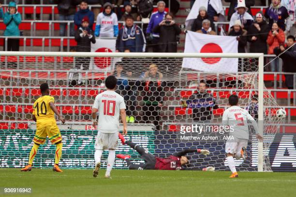 Abdoulaye Diaby of Mali scores a goal to make it 01 during the International friendly match between Japan and Mali at the Stade de Sclessin on March...