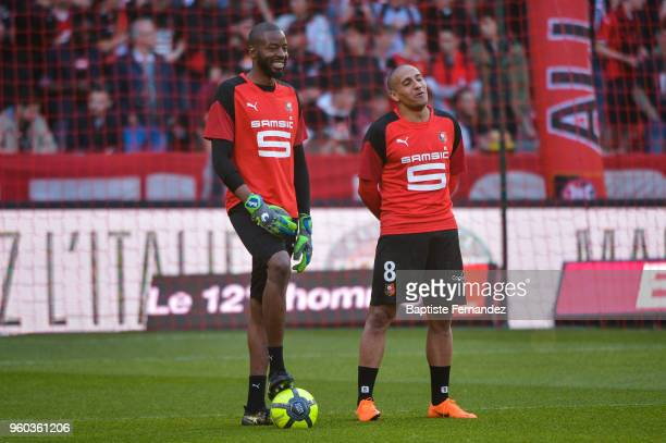 Abdoulaye Diallo and Wahbi Khazri of Rennes during the Ligue 1 match between Stade Rennes and Montpellier Herault SC at Roazhon Park on May 19 2018...