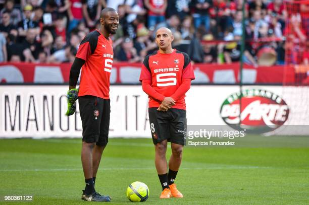 Abdoulaye Diallo and Wzhbi Khazri of Rennes during the Ligue 1 match between Stade Rennes and Montpellier Herault SC at Roazhon Park on May 19 2018...