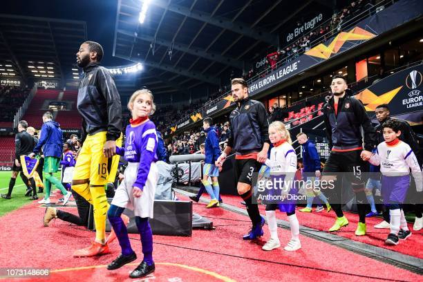 Abdoulaye Diallo Benjamin Andre and Ramy Bensebaini of Rennes during the UEFA Europa League match between Stade Rennais and FC Astana at Roazhon Park...