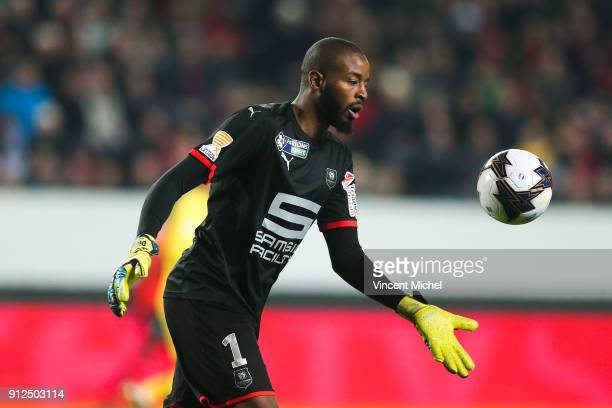 Abdoulaye Diallo of Rennes during the League Cup semi final match between Rennes and Paris Saint Germain PSG at Roazhon Park on January 30 2018 in...