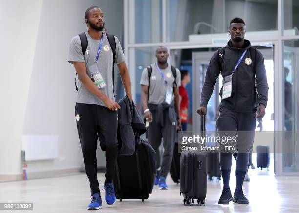 Abdoulaye Diallo of Senegal and Mbaye Niang of Senegal arrive at the stadium prior to the 2018 FIFA World Cup Russia group H match between Senegal...