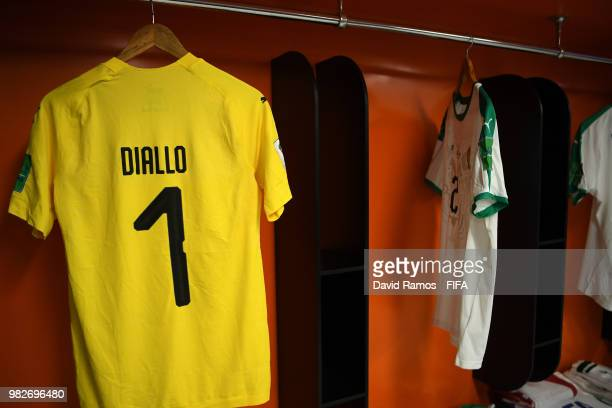 Abdoulaye Diallo's shirt hangs inside the Senegal dressing room prior to the 2018 FIFA World Cup Russia group H match between Japan and Senegal at...