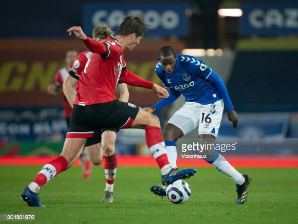 Abdoulaye Doucouré of Everton and Jannik Vestergaard of Southampton in action during the Premier League match between Everton and Southampton at...