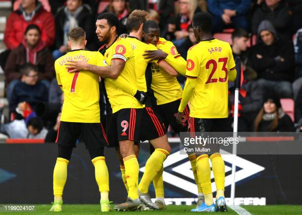 Abdoulaye Doucour of Watford celebrates after scoring his sides first goal during the Premier League match between AFC Bournemouth and Watford FC at...