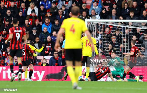 Abdoulaye Doucour of Watford scores his sides first goal during the Premier League match between AFC Bournemouth and Watford FC at Vitality Stadium...