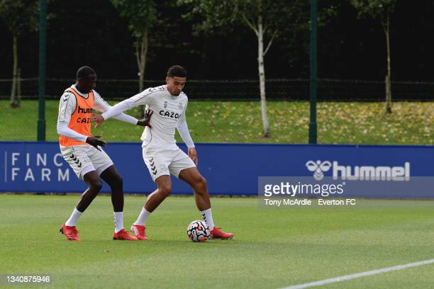 Abdoulaye Doucoure and Ben Godfrey during the Everton Training Session at USM Finch Farm on September 16 2021 in Halewood, England.