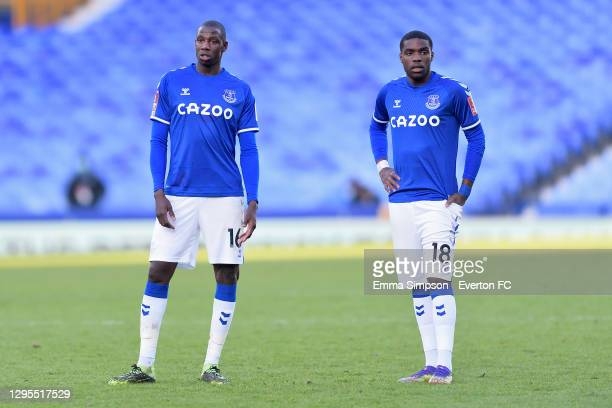 Abdoulaye Doucoure and Niels Nkounkou of Everton during the FA Cup Third Round match between Everton and Rotherham United at Goodison Park on January...