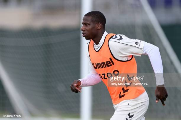 Abdoulaye Doucoure during the Everton Training Session at USM Finch Farm on September 16 2021 in Halewood, England.