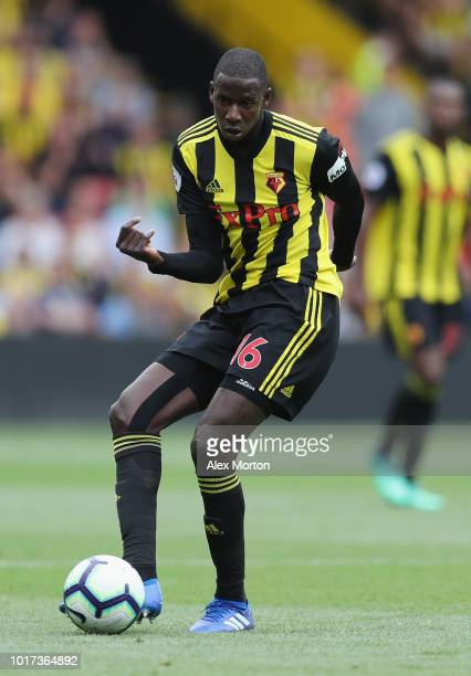 Abdoulaye Doucoure during the Premier League match between Watford FC and Brighton Hove Albion at Vicarage Road on August 11 2018 in Watford United...
