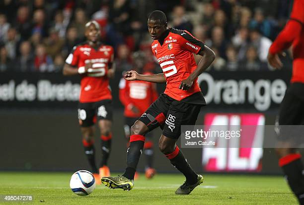 Abdoulaye Doucoure of Rennes in action during the French Ligue 1 match between Stade Rennais and Paris SaintGermain at Roazhon Park stadium on...