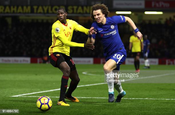 Abdoulaye Doucoure of Watford and David Luiz of Chelsea during the Premier League match between Watford and Chelsea at Vicarage Road on February 5...