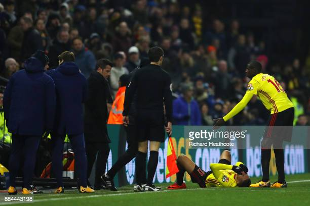 Abdoulaye Doucoure of Watford appeals as Richarlison de Andrade of Watford goes down injured during the Premier League match between Watford and...