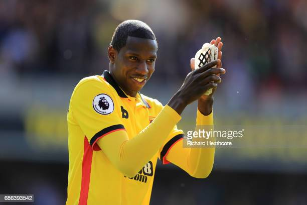 Abdoulaye Doucoure of Watford applaudes the crowd after the Premier League match between Watford and Manchester City at Vicarage Road on May 21 2017...