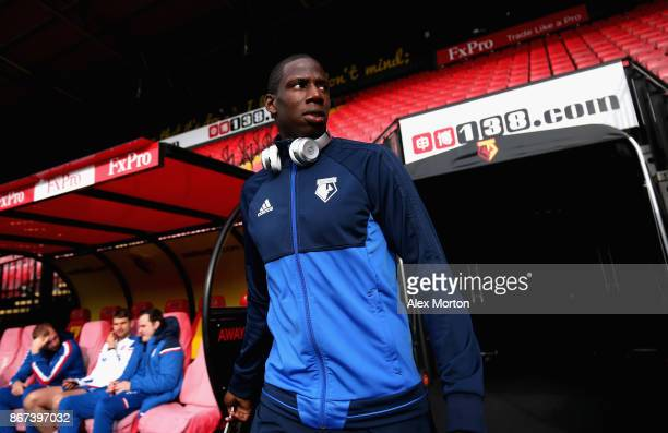 Abdoulaye Doucoure of Watford arrives at the stadium prior to the Premier League match between Watford and Stoke City at Vicarage Road on October 28...