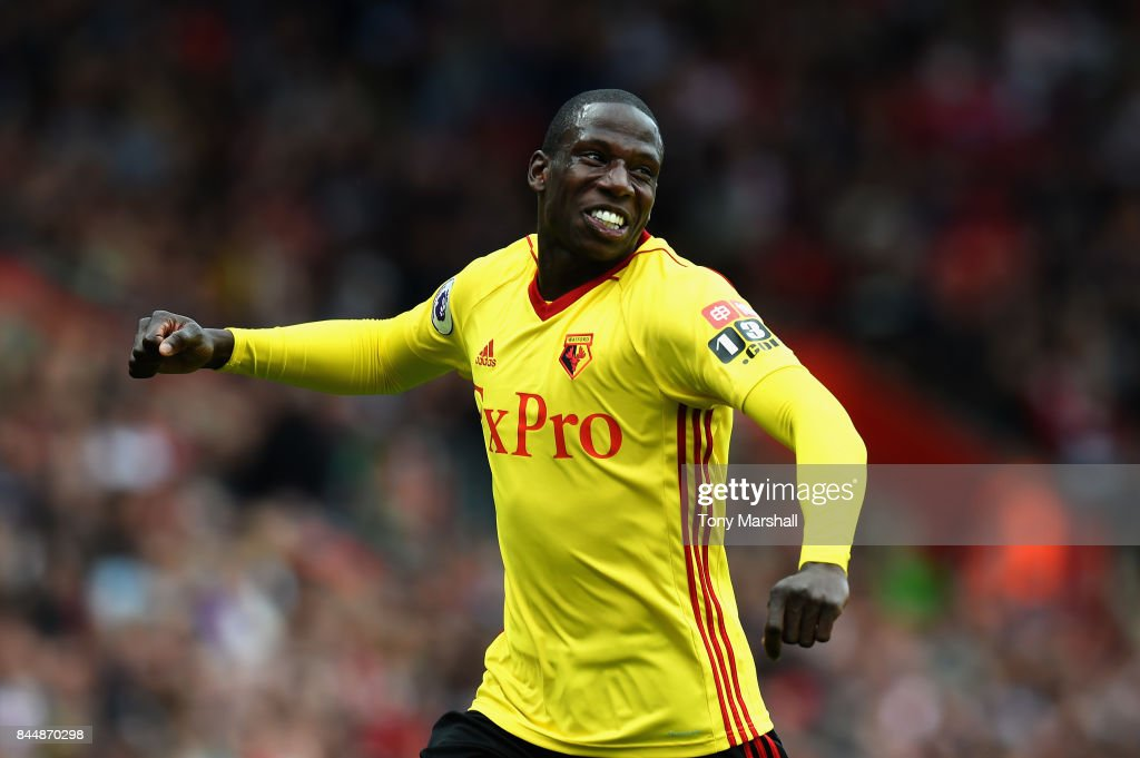 Abdoulaye Doucoure of Watford celebrates after scoring his sides first goal during the Premier League match between Southampton and Watford at St Mary's Stadium on September 9, 2017 in Southampton, England.
