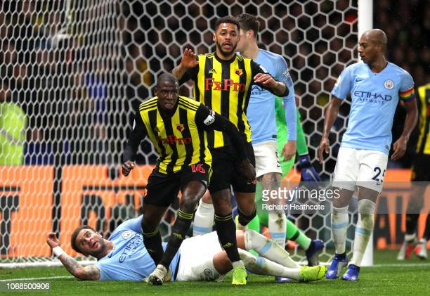 Abdoulaye Doucoure of Watford celebrates after scoring his team's first goal during the Premier League match between Watford FC and Manchester City...