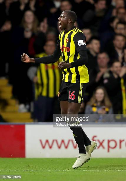 Abdoulaye Doucoure of Watford celebrates after scoring his team's first goal during the Premier League match between Watford FC and Newcastle United...