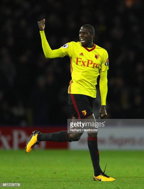 Abdoulaye Doucoure of Watford celebrates scoring the 2nd Watford goal during the Premier League match between Watford and Manchester United at...