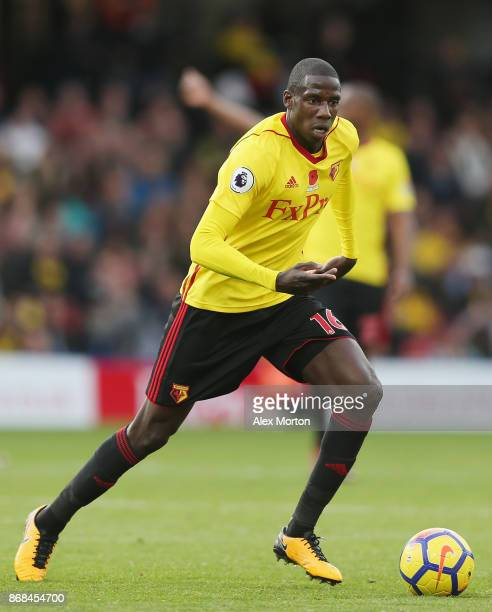 Abdoulaye Doucoure of Watford during the Premier League match between Watford and Stoke City at Vicarage Road on October 28 2017 in Watford England
