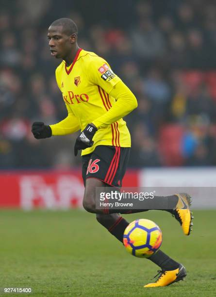Abdoulaye Doucoure of Watford during the Premier League match between Watford and West Bromwich Albion at Vicarage Road on March 3 2018 in Watford...