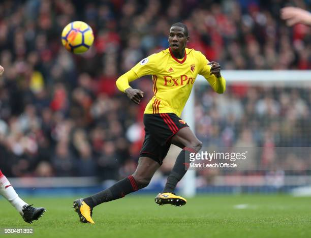 Abdoulaye Doucoure of Watford during the Premier League match between Arsenal and Watford at Emirates Stadium on March 11 2018 in London England