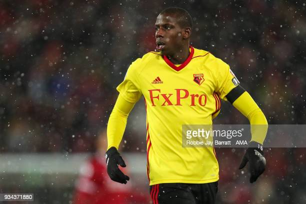 Abdoulaye Doucoure of Watford during the Premier League match between Liverpool and Watford at Anfield on March 17 2018 in Liverpool England