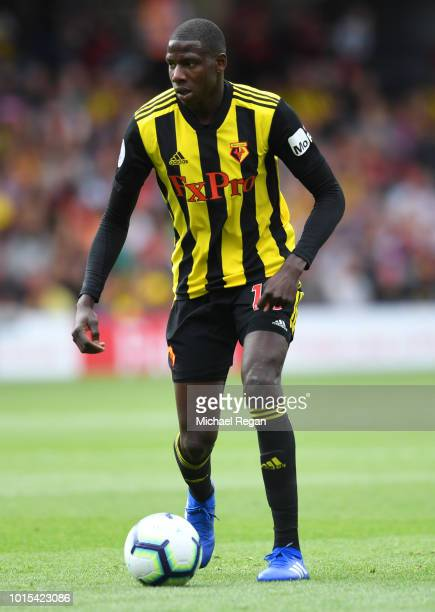 Abdoulaye Doucoure of Watford in action during the Premier League match between Watford FC and Brighton Hove Albion at Vicarage Road on August 11...