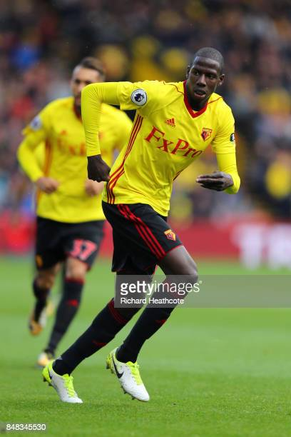 Abdoulaye Doucoure of Watford in action during the Premier League match between Watford and Manchester City at Vicarage Road on September 16 2017 in...