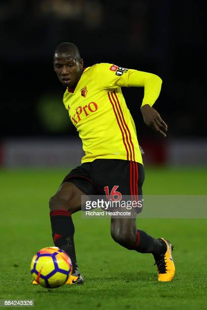 Abdoulaye Doucoure of Watford in action during the Premier League match between Watford and Manchester United at Vicarage Road on November 28 2017 in...