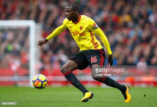 Abdoulaye Doucoure of Watford in action during the Premier League match between Arsenal and Watford at Emirates Stadium on March 11 2018 in London...